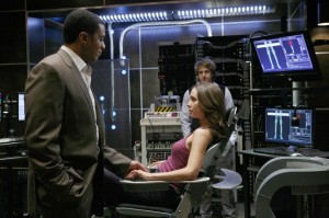 "DOLLHOUSE:  Boyd (Harry Lennix, L) and Topher (Fran Kranz, R) prepare Echo (Eliza Dushku, C) for her next engagement in the DOLLHOUSE episode ""The Target"" airing Friday, Feb. 20 (9:01-10:00 PM ET/PT) on FOX. ©2009 Fox Broadcasting Co. Cr: Isabella Vosmikova/FOX"