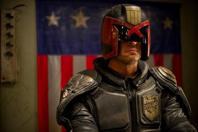 Karl Urban stars as 'Judge Dredd' in DREDD 3D. Photo credit: Joe Alblas