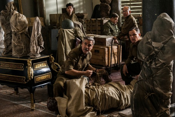 (l to r) Sam Epstein, George Clooney, John Goodman, Bob Balaban and Matt Damon in Columbia Pictures' THE MONUMENTS MEN.